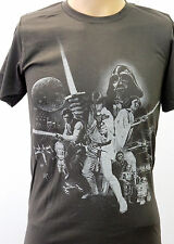 Grey Star Wars Retro Look Return of the Jedi Characters Small T Shirt Gray