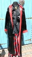 shiny black & red heavy pvc vinyl long raincoat hood & belt regenmantel XL