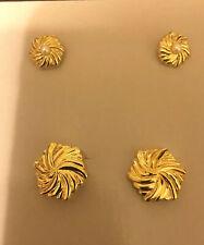 AVON VINTAGE 1985 GOLDEN PINWHEEL STUD EARRINGS & BUTTON COVERS GOLD TONE ~NOS