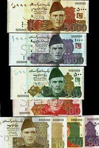 PAKISTAN 5 10 20 50 100 500 1000 5000 2006-2009 8 SPECIMEN Complete Set UNC NOTE