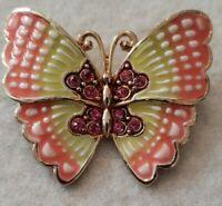 Stunning Vintage MONET Butterfly Brooch Pin Pink Enamel Pink Rhinestones
