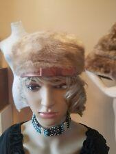Vintage light mink pill box hat with mauve ribbon excellent condition