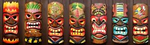 Tiki Bar Mask 30cm Wooden Decoration Handcarved Painted Wall Decor Accessories
