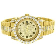 Custom Presidential Style Watch Roman Numeral Iced Out Stainless Steel 40mm Men