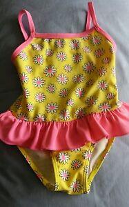 H & T brand Girls Swimsuit Size 2 YELLOW w daisies & pink ruffle waist NEW