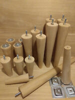 4 x Oak Wooden furniture legs/feet, replacement, chair, sofa, footstool, M8,