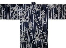 "Japanese Men's Yukata Kimono Dragon Made in Japan Navy 60"" #L EK204"