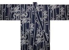 "Japanese Men's Yukata Kimono Dragon Made in Japan Navy 60"" #L EK204"