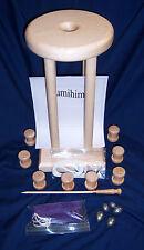 "KUMIHIMO TABLE HARD MAPLE 8"" DIA. 16"" High, 8 Bobbins, Weights, Bag & Rod"
