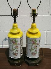 2 Vintage Frederick Cooper Hand Painted Gilt Ceramic Pottery Table Lamps