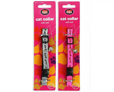 FISHBONE Cat Collar Adjustable with BELL Reflective Fish Bone Silver or Pink