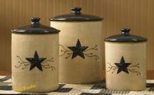 Country Canister Set Texas Star Rustic Red Berry Vine Western Ceramic Primitive