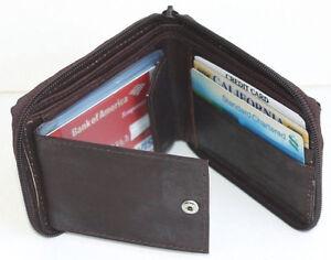 Black Mens Genuine Leather Credit Card ID Bifold Wallet Zip Around Card Insert