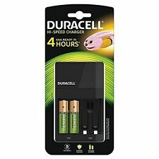 Duracell Black 4 Hour Battery Charger With 2x AA & 2x AAA Batteries