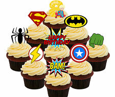 8th Birthday Superhero Edible Cup Cake Toppers, 36 Stand-up Bun Decorations Boy