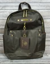 Adrienne Vittadini Brown Gold Zipper Nylon Backpack Purse Womens