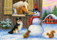 Horse cat dog squirrel bird Christmas snowman winter farm OE aceo print art
