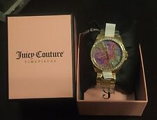 Juicy Couture Women's EMMA Crystal Stainless Steel Watch Gold Tone $275 Retail