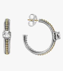 LAGOS PRISM CAVIAR WHITE TOPAZ HOOP EARRINGS 18K GOLD .925 STERLING BNWT $595