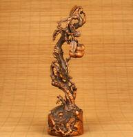 antique big chinese old boxwood persimmon tree statue figure netsuke deco