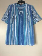 Woman Within Womens Plus Size 20W Striped Cotton Wrinkle Short Sleeve Shirt New