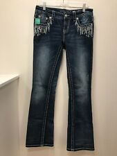 Miss Me Women��s Size 28 Signature Boot Denim Jeans With Sequin & Embroidery