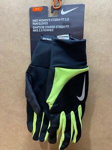 Nike Medium Womens Warm Dry STORM FIT 2.0 Run Gloves Black Neon Green 82556 B75