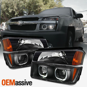 [4 PCS]For 02-06 Chevy Avalanche Dual Halo Projector Headlights + Corner Lights