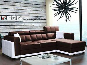 Modern Corner Sofa BARI 1 BROWN & WHITE  Right Faux Leather FAST DELIVERY