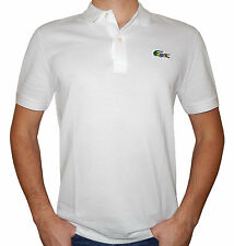 Lacoste Sport Olympics Supporter Team Brazil White Polo Big Croc Flag Theme Sz L