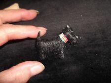 Vintage Rare Broche Noir Scottie Chien avec tartan col laine fourrure Finition