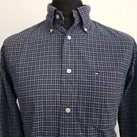 Tommy Hilfiger Mens Vintage Shirt MEDIUM Long Sleeve Blue Regular Fit Check