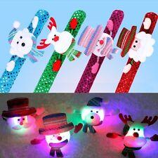 LED Light Glow Christmas Kids Toy Xmas Slap Bracelet Wrist band Party Decor Gift