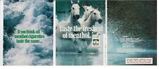 MARLBORO 1990 print ad cigarettes clipping white horses running wild in H2O vtg