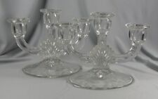 Pair Indiana Triple Candle Holders - 3 Light Candelabras, Crystal, Fan