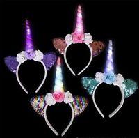 4 Set Unicorn Light-up Floral Headband Girls Birthday Party Cute Favors Supplies
