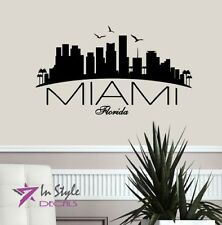 Wall Vinyl Decal Miami Florida Skyline City USA Room Room Decor 1538