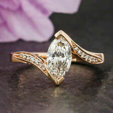 1.50 Carats VVS1 D Marquise Cut Diamond Engagement Ring Classic Sterling Silver