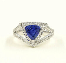 Trillion Tanzanite Signet Diamond Pave Ring.14k White Gold Tanzanite Ring.
