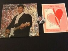 """Ritchie Valens 33 1/3 Album, Sheet Music For """"Donna"""" With Autographs & Pin"""