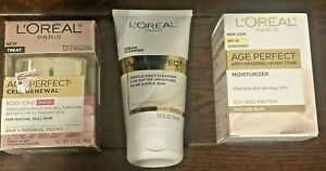 L'OREAL AGE PERFECT Cell Renewal Mask/Cleanser/Moisturizer Bundle GREAT PRICE!!