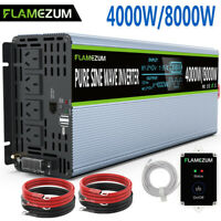 Large Shell 4000W/8000W Pure Sine Wave Power Inverter 24V To 240V LCD&Remote USB