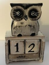 Standing White Owl Perpetual Calendar Wooden (Hand Carved).....