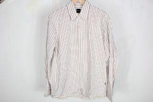 Hugo Boss men's striped white casual shirt, 100% Baumwolle cotton, size L