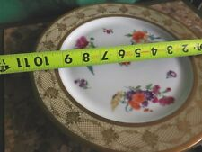 "(4) PT Tirschenreuth Bavaria China Dinner Plates 10 3/4"" Gold Floral"