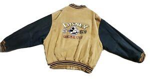 DISNEY Mickey Inc 1928 Varsity Beige Suede Jacket Mens XxL USA Vintage 90's
