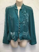 Soft Surroundings Teal Velvet Cocktail Jacket Floral Applique Beads Size S NEW