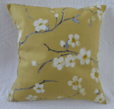 "16"" Cushion Cover Cherry Blossom Print Saffron Mustard Yellow New Handmade 40cm"