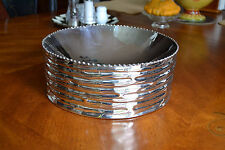 Michael Aram Large Silver Centerpiece Fruit Salad Serving Bowl Beaded Bamboo