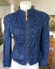 JUST CAVALLI Flower Detail Leather Jacket Cobalt Blue EUR 42 Size 4 6